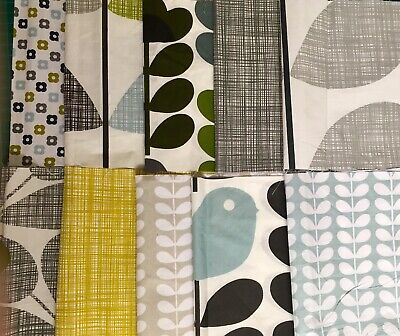 Orla Kiely 10 Piece Fabric Bundle Sweet Pea Early Bird Tiny Stem Acorn Cup NEW M