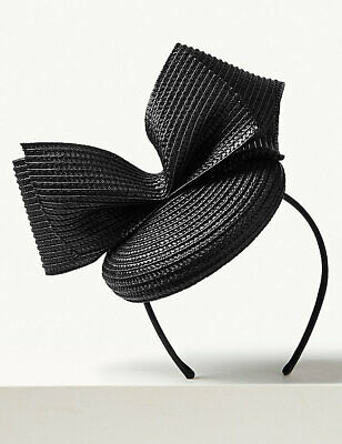 BNWT M&S COLLECTION Black Bow Pillbox Fascinator RRP £35