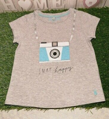 Joules Girl's Short Sleeve Camera 'Snap Happy' Grey Astra T-shirt ~ Age 7-8 yrs