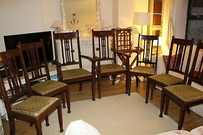 Set of 7 antique oak large dining chairs