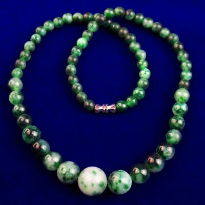 """1 Strand 14mm 6mm Green Jade Round Ball Pendant Necklace 17.5"""" S32175"""