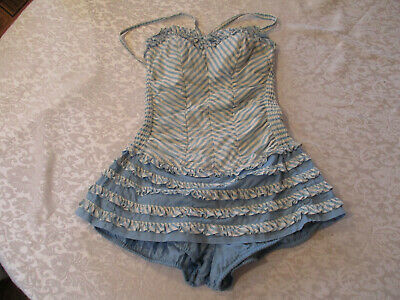 "Vintage ""Catalina"" Ladies Blue & White Striped Bathing Suit w/ Ruffles-Size 10"