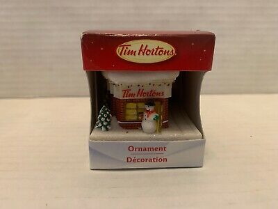 """Tim Hortons 2012 """"Snowman At Timmies"""" Christmas Ornament New In Box"""