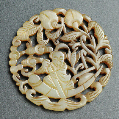 Chinese Natural Hand Carved Jade Carving Amulets Yupei Pendant Character Peaches