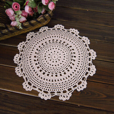"4Pcs/Lot White Vintage Hand Crochet Lace Doilies Round Place Mats 10"" Wedding"