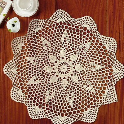 Vintage Hand Crochet Lace Doily Round Table Mat 13-15inch Flower Pattern Ecru