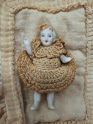"""Antique Carl Horn/Hertwig Miniature Dollhouse Doll 2 1/2"""" German All Bisque Doll"""