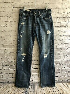 Abercrombie & Fitch Men's Remsen Low Rise Slim Straight Distressed Jeans 30x32