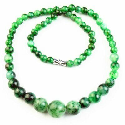 """1 Strand 14mm 6mm Green Jade Round Ball Pendant Necklace 17.5"""" S32181"""