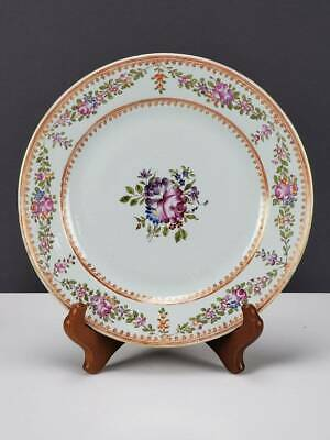 Antique 18Th C. Chinese Export Porcelain Plate Flowers W Gold