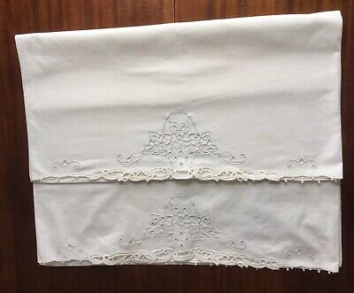 """Vintage Pair Of White Cotton Pillowcases  With Cut Out Embroidery 31"""" x 20 1/2"""""""