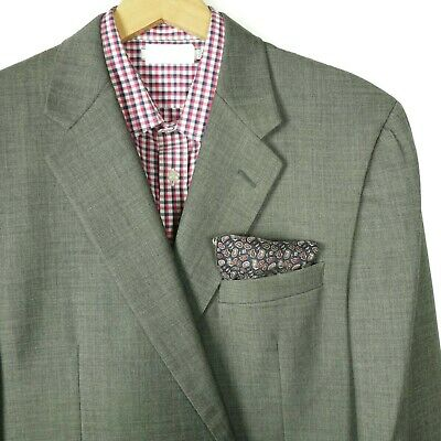 Hickey Freeman Mens Madison Blazer Jacket Size 46 L Gray Wool Solid Two Button