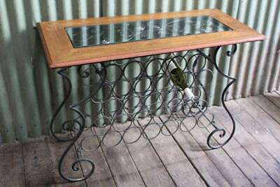 A Rustic Timber & Iron Table with Wine Rack - Hall Table