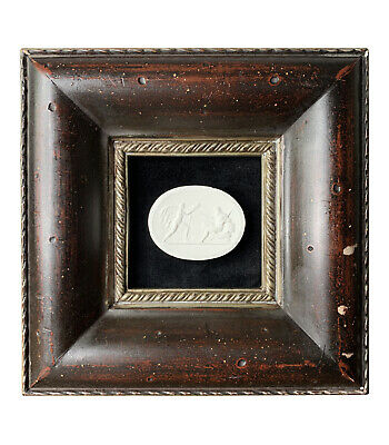 19th-Century Grand Tour Style Italian Plaster Cameo & Cherry Color Frame