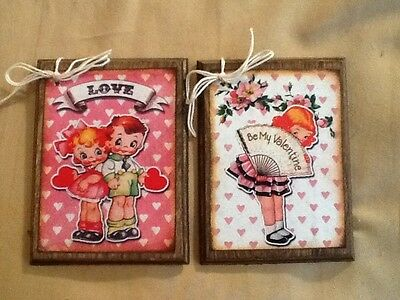 5 WOODEN Retro Valentine's Day GiftTags/Valentine Ornaments HANDCRAFTED SET 2