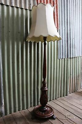 A Gorgeously Carved Antique Art Nouveau Standard Lamp with Shade