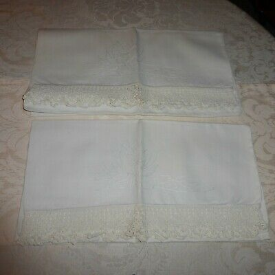 Lot of 2 lace edge embroidery flower pillow cases