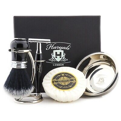 PERSONALIZED Luxury Synthetic Hair Barber Brush + Safety Razor Stand Shaving Kit