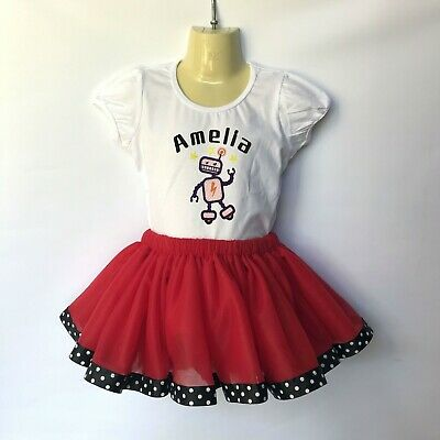 Robot birthday girl outfit - sizes 00 to 8 - personalised embroidered, tutu