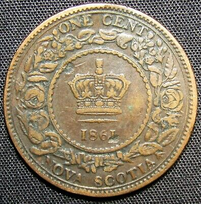 1861 Nova Scotia 1 Cent Coin