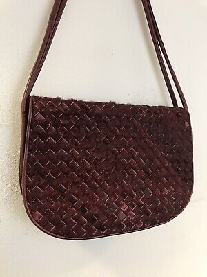 Bottega Veneta Intrecciato Oxblood Red Pony Hair Suede Flap Shoulder Bag
