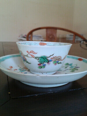 ANTIQUE 18th c. CHINESE  PORCELAIN CUP AND SAUCER SQUIRREL & FLOWERS