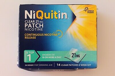 NiQuitin Clear 21mg Patch Nicotine - STEP 1 - 2 Week Kit - 14 PATCHES