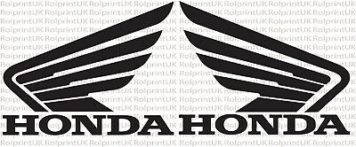 WHITE OR  BLACK 2 X LARGE HONDA WINGS  190mm x 155mm VINYL DECALS STICKER RED