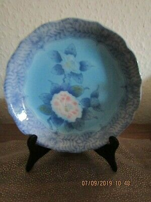 Chinese Shallow Dish; Signed : Pretty Blues And Pinks: