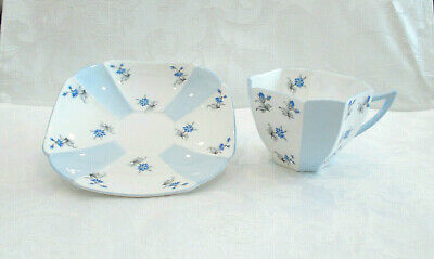 Vintage Shelley Fine Bone China Queen Anne Blue Charm Cup & Saucer 13894 / S10