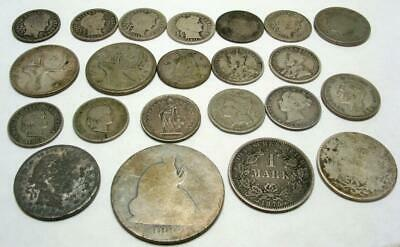 Lot of 22 Old Silver Coins US Canada Swiss Germany Britain 1860-1945 2.7 OZ TW