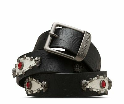 Dr. Martens Rock 'N' Roll Belt, Black+White Floral Emboss+Pebble Lamper, L