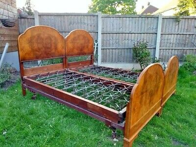 pair of antique burr walnut single beds