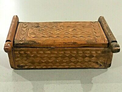 Indian Vintage Hand Carved Wooden Kum Kum Spice Powder Box Heavy Solid Wood