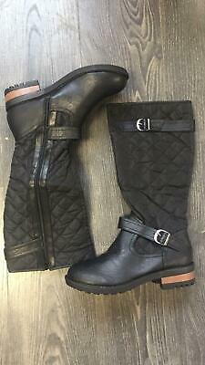 Ladies Womens Knee High Boots Quilted Fashion Casual Walking Shoes Black Size 8