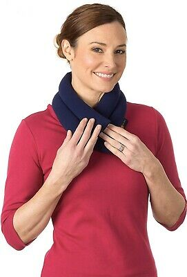 Sunny Bay Extra Long Neck Heating Wrap, Wheat Filled (Navy Blue)