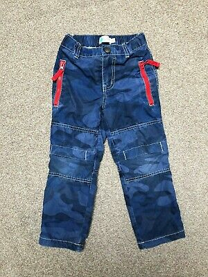 MINI BODEN Boys Cotton Lined Blue Combat Trousers Age 4 Years 104cm