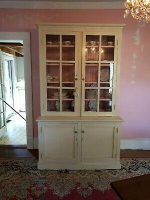 Antique Wood Stepback Cabinet Hutch with Original Hand-Blown Glass Doors