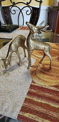 Set of Vintage Mid-Century Modern Brass Figurine Deer Buck Reindeer