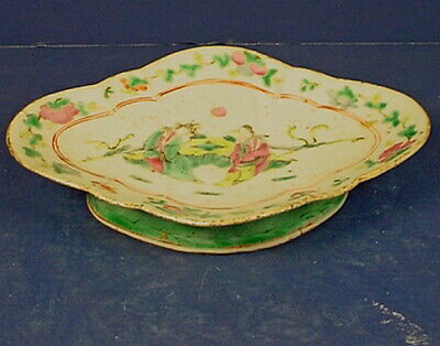19thC CHINESE FAMILLE ROSE EXPORT PORCELAIN FOOTED 'FIGURAL' OFFERING DISH