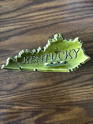 STATE OF KENTUCKY, (3-D) GRAPHICS ON BOTH SIDES, Ceramic Ashtray, Vintage 1960's