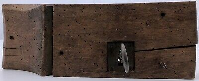 French Hand-Wrought Iron Mortise Mount Lock on Wood with Forged Key, Louis XVI
