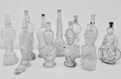 Collection of Figural Antique French Collectible Glass Bottles, Set of 11