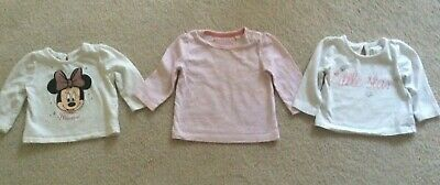 BABY GIRL 3 x COTTON LONG SLEEVED TOPS BUNDLE AGE 3-6 MONTHS BLUE ZOO PRIMARK