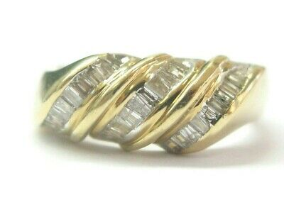 Baguette Diamond Ring 14Kt Yellow Gold .60Ct G-SI1 SIZEABLE 8.3mm