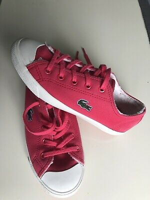 Lacoste Bright Pink Snickers size UK 12,5 EU 31 Trainers VGC Raspberry Red