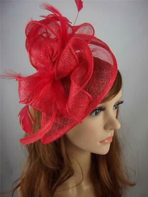 Red Teardrop Sinamay Fascinator with Feathers - Occasion Wedding Races