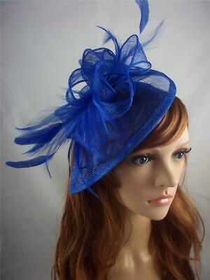 Royal Blue Teardrop Sinamay Fascinator with Feathers - Occasion Wedding Races