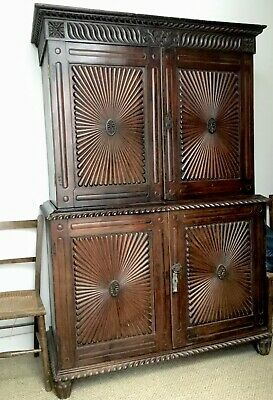 Antique Indian Armoire / Linen Press. Solid Teak. Stunning Carving.