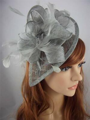 Silver Grey Teardrop Sinamay Fascinator with Feathers - Occasion Wedding Races
